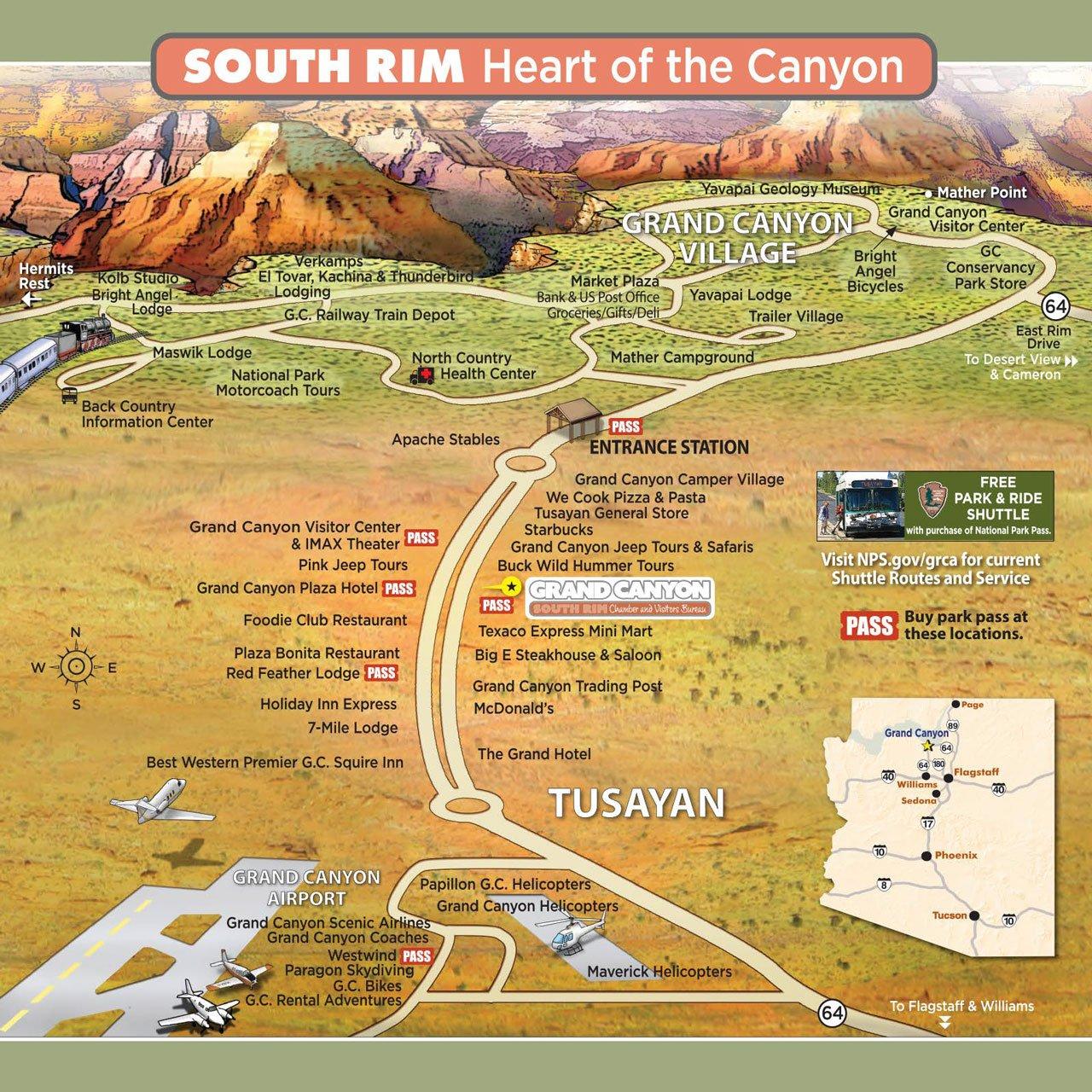 South Rim Village AndTusayan Map